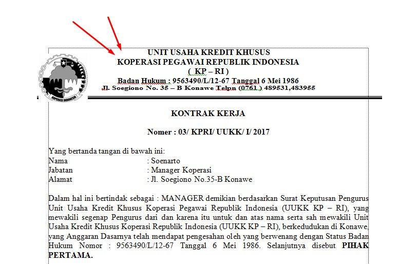contoh surat kontrak kerja karyawan